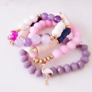 Jewelry - Colorful Bracelet Set With Flamingo Detail